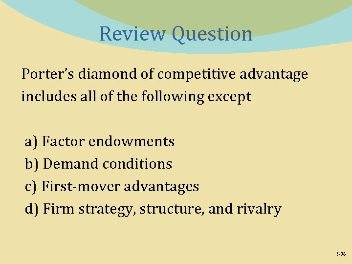 Review Question Porter's diamond of competitive advantage includes all of the following except a)