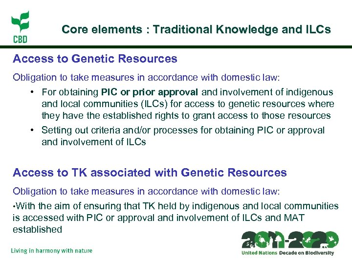 Core elements : Traditional Knowledge and ILCs Access to Genetic Resources Obligation to take