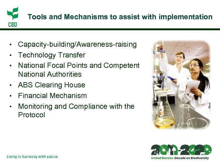 Tools and Mechanisms to assist with implementation • • • Capacity-building/Awareness-raising Technology Transfer National