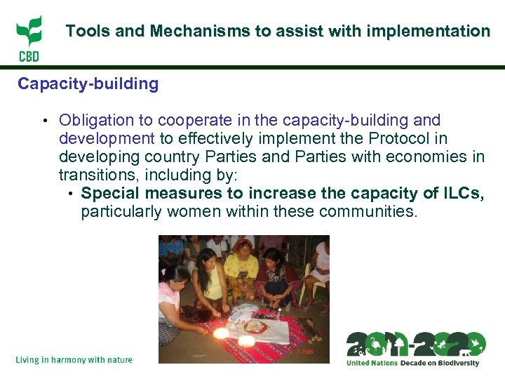 Tools and Mechanisms to assist with implementation Capacity-building • Obligation to cooperate in the