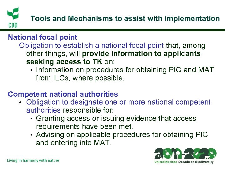 Tools and Mechanisms to assist with implementation National focal point Obligation to establish a