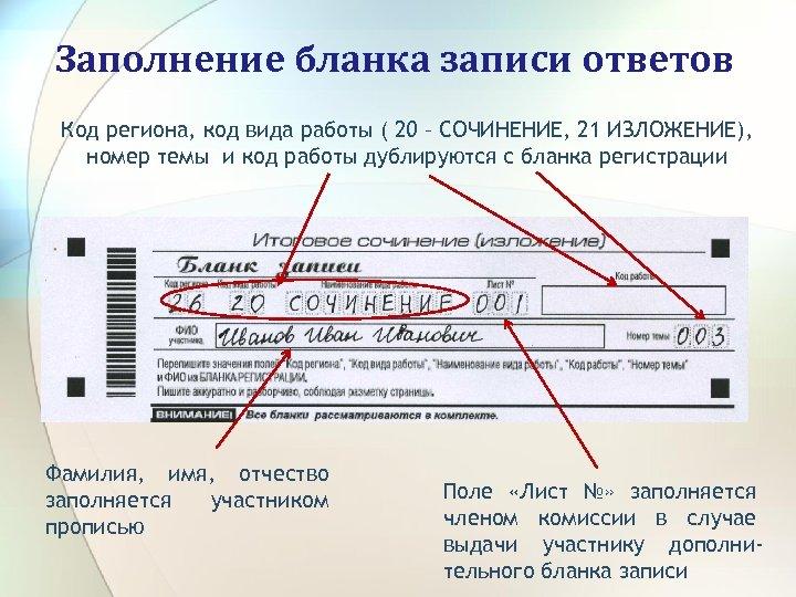 Заполнение бланка записи ответов Код региона, код вида работы ( 20 – СОЧИНЕНИЕ, 21