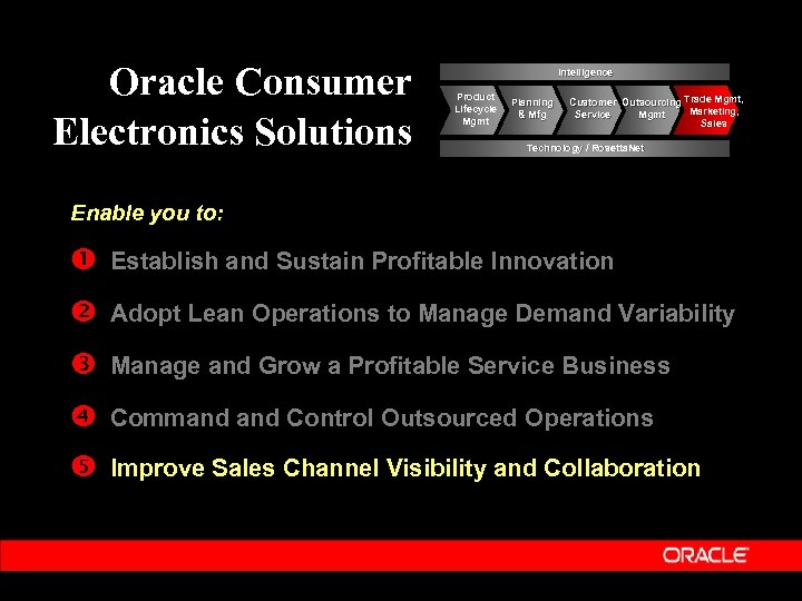 Oracle Consumer Electronics Solutions Intelligence Product Lifecycle Mgmt Planning & Mfg Customer Outsourcing Trade