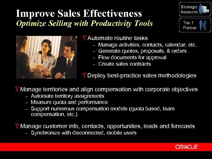 Improve Sales Effectiveness Optimize Selling with Productivity Tools Strategic Accounts Tier 1 Partner Ÿ