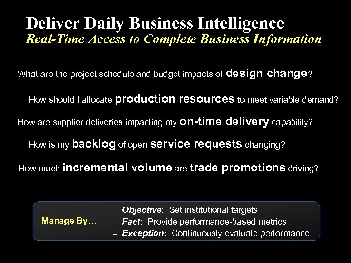 Deliver Daily Business Intelligence Real-Time Access to Complete Business Information What are the project