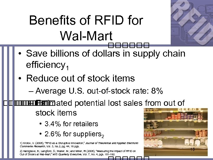 Benefits of RFID for Wal-Mart • Save billions of dollars in supply chain efficiency