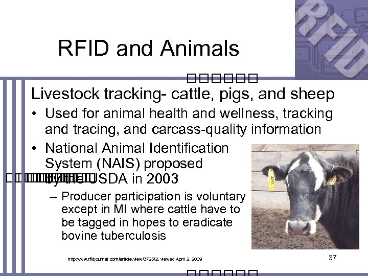 RFID and Animals Livestock tracking- cattle, pigs, and sheep • Used for animal health
