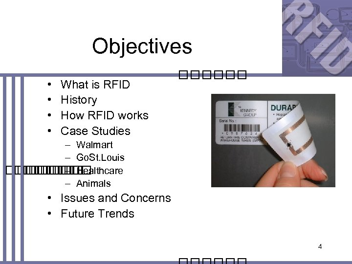 Objectives • • What is RFID History How RFID works Case Studies – Walmart