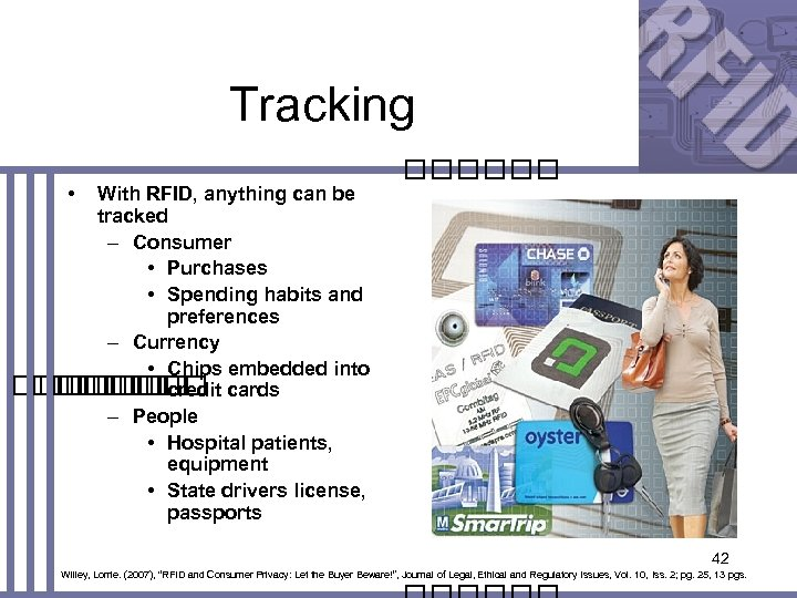 Tracking • With RFID, anything can be tracked – Consumer • Purchases • Spending