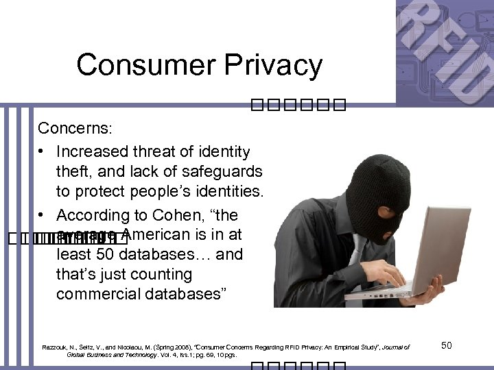 Consumer Privacy Concerns: • Increased threat of identity theft, and lack of safeguards to