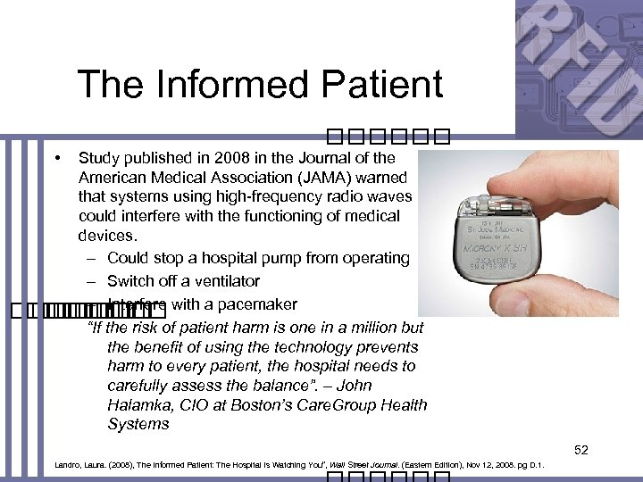 The Informed Patient • Study published in 2008 in the Journal of the American