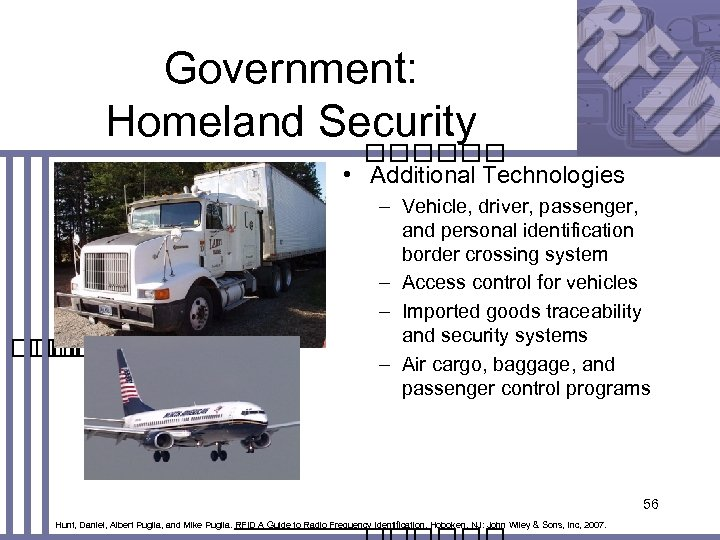 Government: Homeland Security • Additional Technologies – Vehicle, driver, passenger, and personal identification border