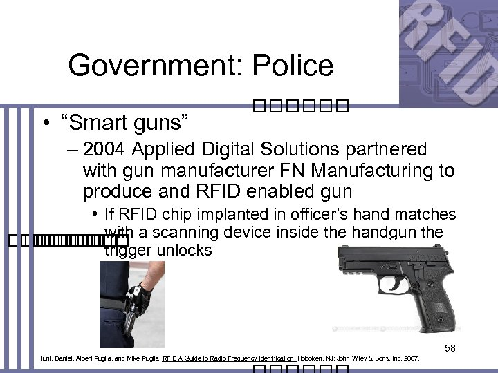"Government: Police • ""Smart guns"" – 2004 Applied Digital Solutions partnered with gun manufacturer"