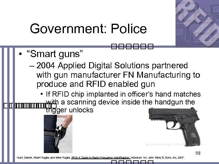 "Government: Police • ""Smart guns"" – 2004 Applied Digital Solutions partnered with gun manufacturer"