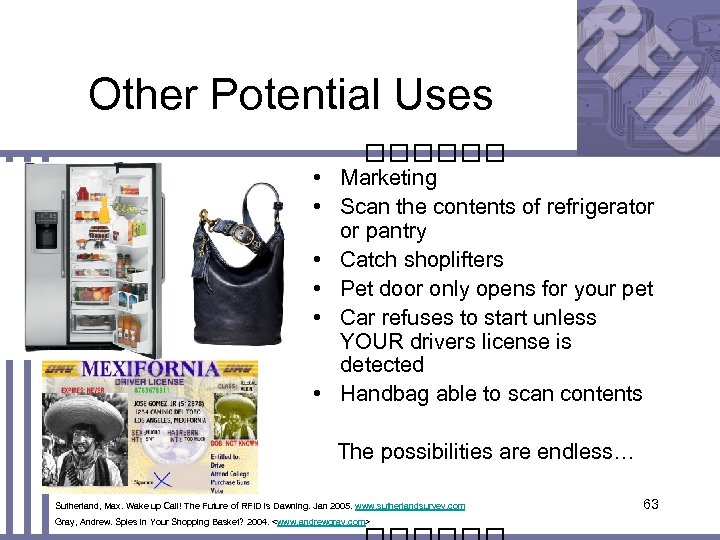 Other Potential Uses • Marketing • Scan the contents of refrigerator or pantry •