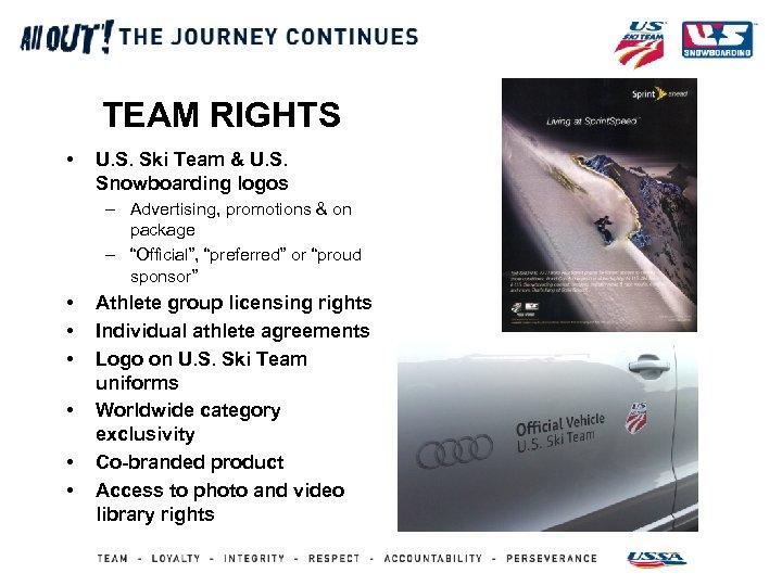 TEAM RIGHTS • U. S. Ski Team & U. S. Snowboarding logos – Advertising,