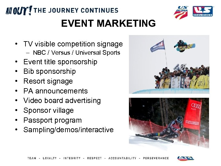 EVENT MARKETING • TV visible competition signage – NBC / Versus / Universal Sports