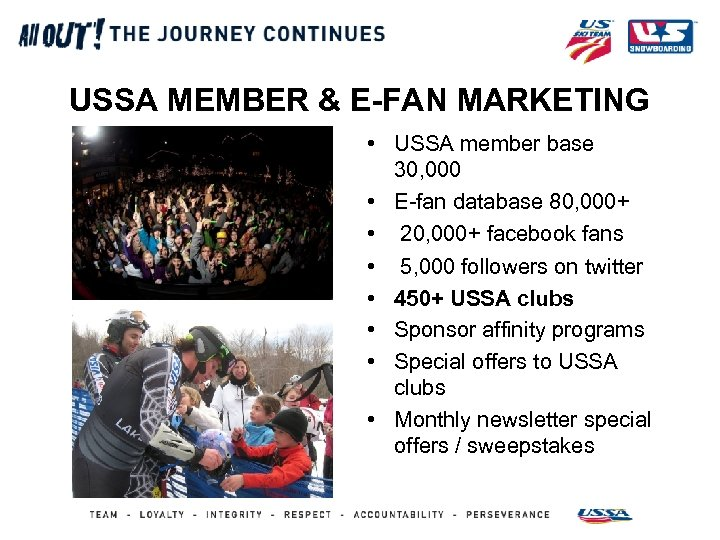 USSA MEMBER & E-FAN MARKETING • USSA member base 30, 000 • E-fan database