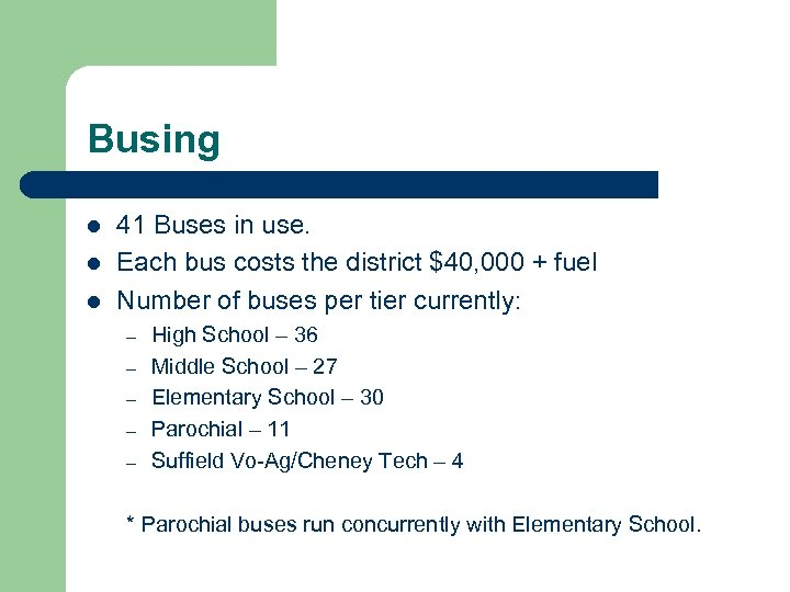 Busing l l l 41 Buses in use. Each bus costs the district $40,