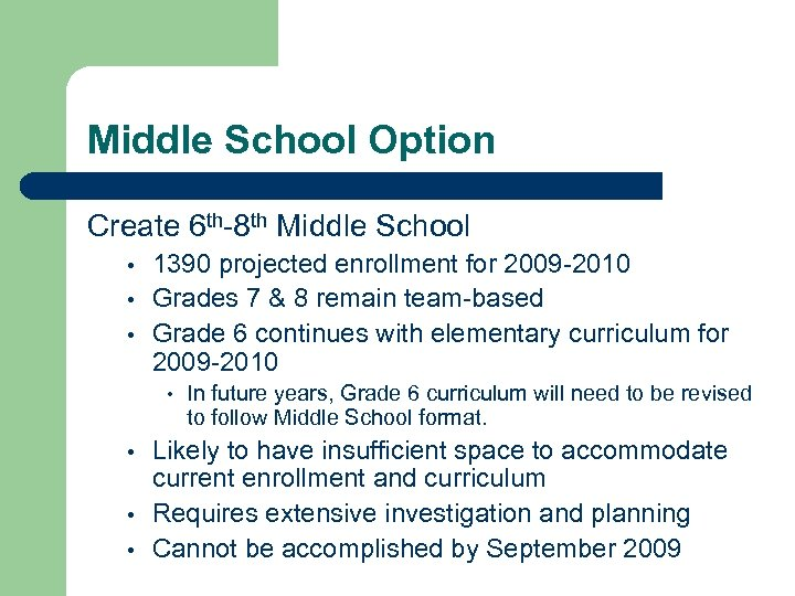 Middle School Option Create 6 th-8 th Middle School • • • 1390 projected