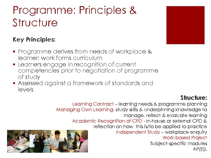 Programme: Principles & Structure Key Principles: § Programme derives from needs of workplace &