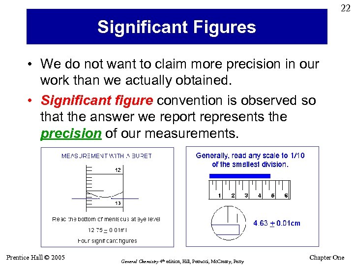22 Significant Figures • We do not want to claim more precision in our