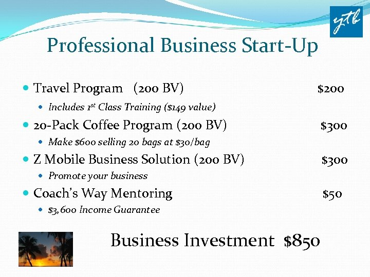 Professional Business Start-Up Travel Program (200 BV) $200 Includes 1 st Class Training ($149