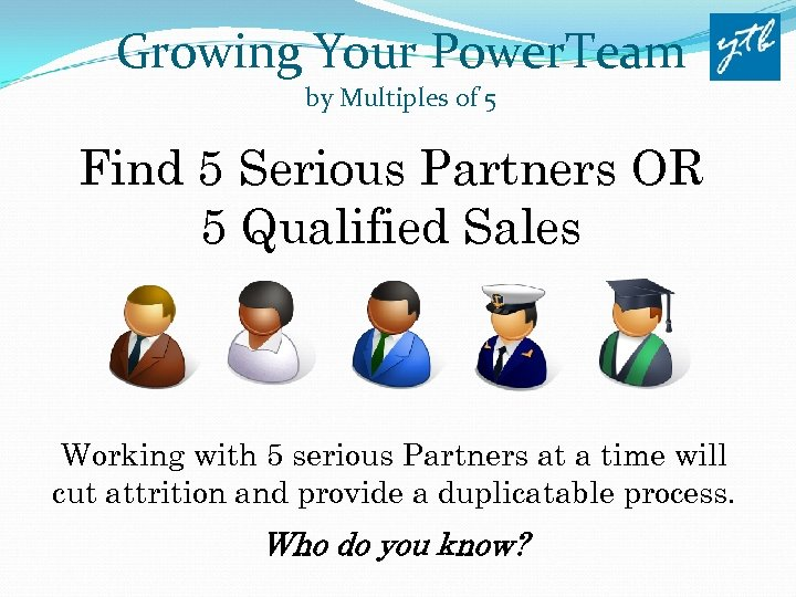 Growing Your Power. Team by Multiples of 5 Find 5 Serious Partners OR 5