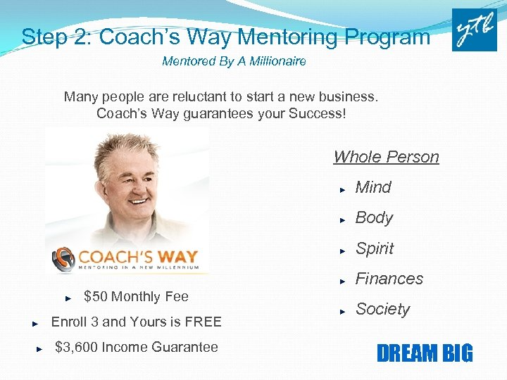 Step 2: Coach's Way Mentoring Program Mentored By A Millionaire Many people are reluctant