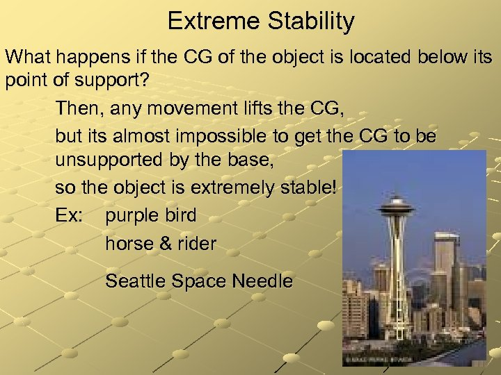 Extreme Stability What happens if the CG of the object is located below its