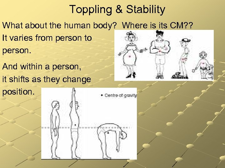 Toppling & Stability What about the human body? Where is its CM? ? It