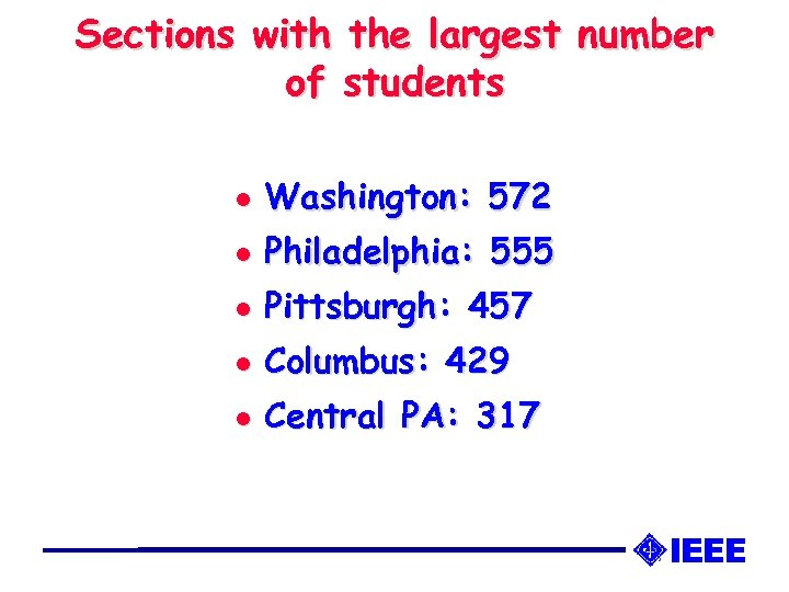 Sections with the largest number of students l Washington: 572 l Philadelphia: 555 l