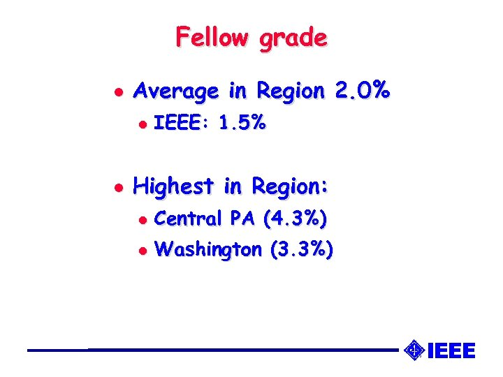 Fellow grade l Average in Region 2. 0% l l IEEE: 1. 5% Highest