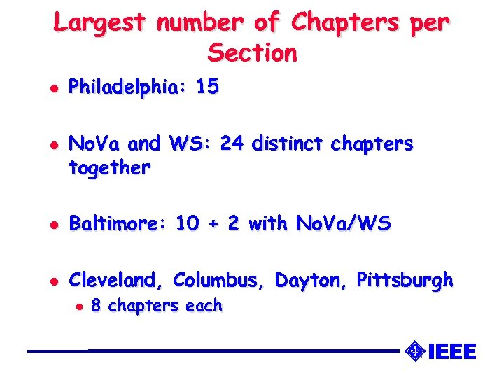 Largest number of Chapters per Section l l Philadelphia: 15 No. Va and WS: