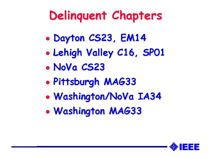 Delinquent Chapters l Dayton CS 23, EM 14 l Lehigh Valley C 16, SP