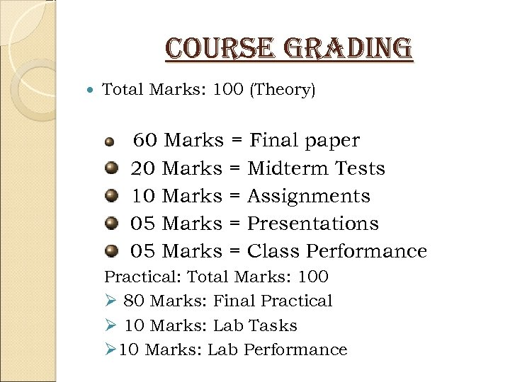 course grading Total Marks: 100 (Theory) 60 Marks = Final paper 20 Marks =