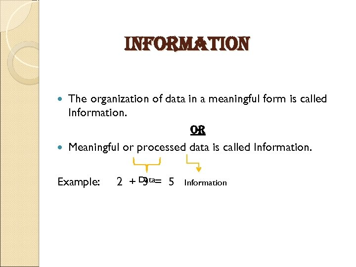 information The organization of data in a meaningful form is called Information. or Meaningful