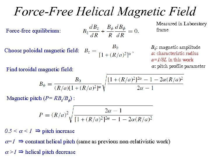 Force-Free Helical Magnetic Field Force-free equilibrium: Choose poloidal magnetic field: Find toroidal magnetic field: