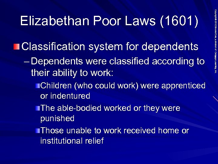 Classification system for dependents – Dependents were classified according to their ability to work: