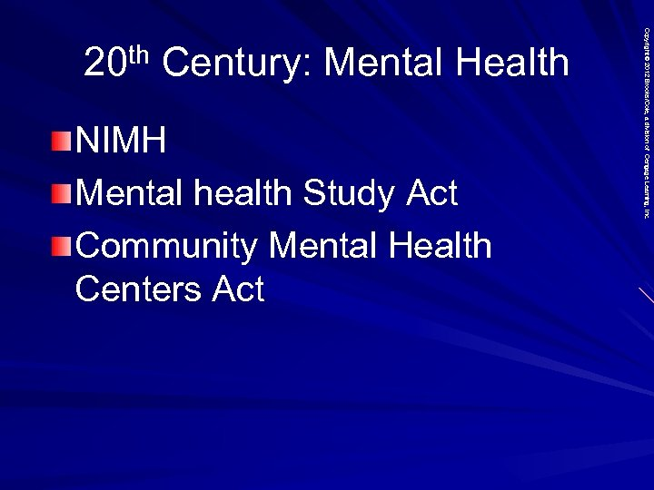 NIMH Mental health Study Act Community Mental Health Centers Act Copyright © 2012 Brooks/Cole,