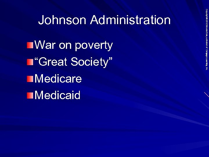 "War on poverty ""Great Society"" Medicare Medicaid Copyright © 2012 Brooks/Cole, a division of"