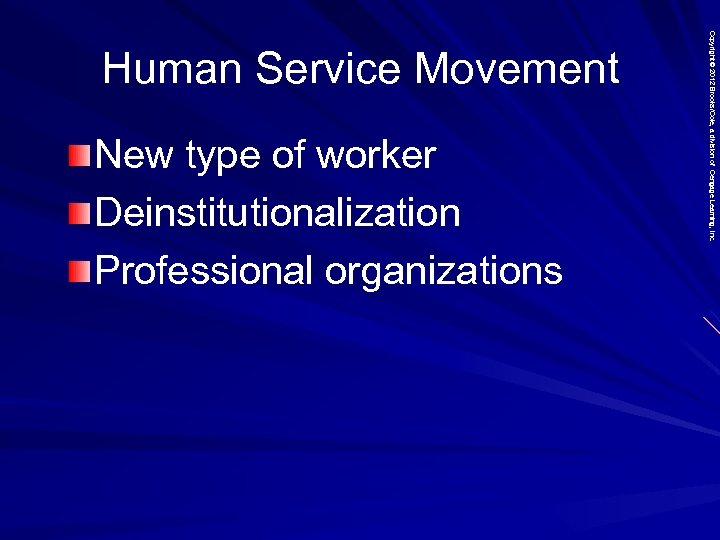 New type of worker Deinstitutionalization Professional organizations Copyright © 2012 Brooks/Cole, a division of