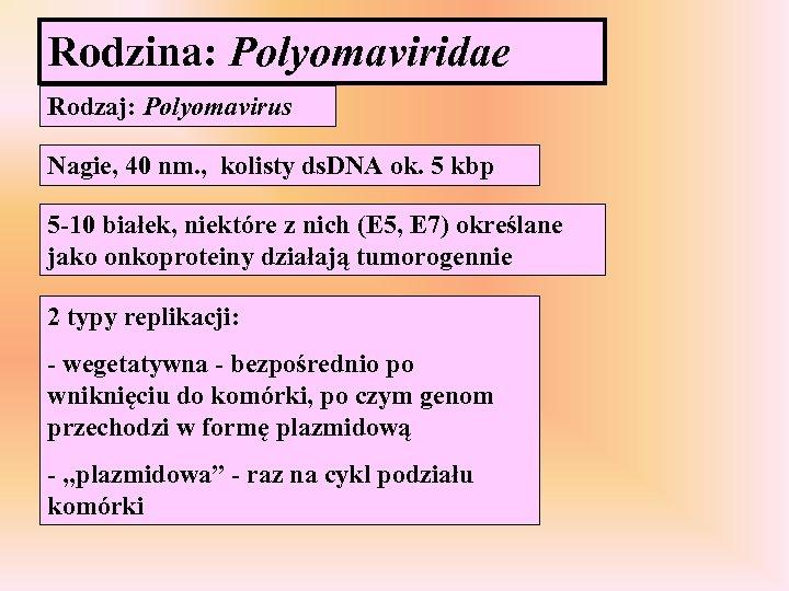 Rodzina: Polyomaviridae Rodzaj: Polyomavirus Nagie, 40 nm. , kolisty ds. DNA ok. 5 kbp