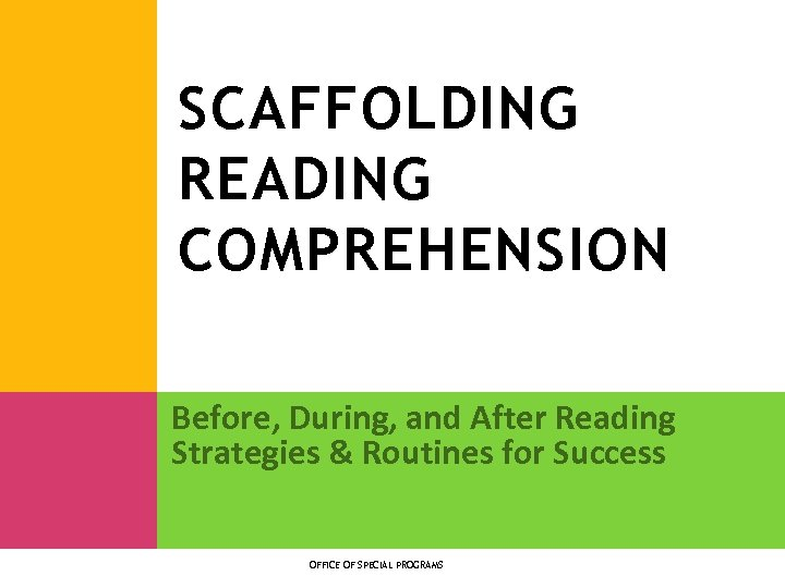 SCAFFOLDING READING COMPREHENSION Before, During, and After Reading Strategies & Routines for Success OFFICE