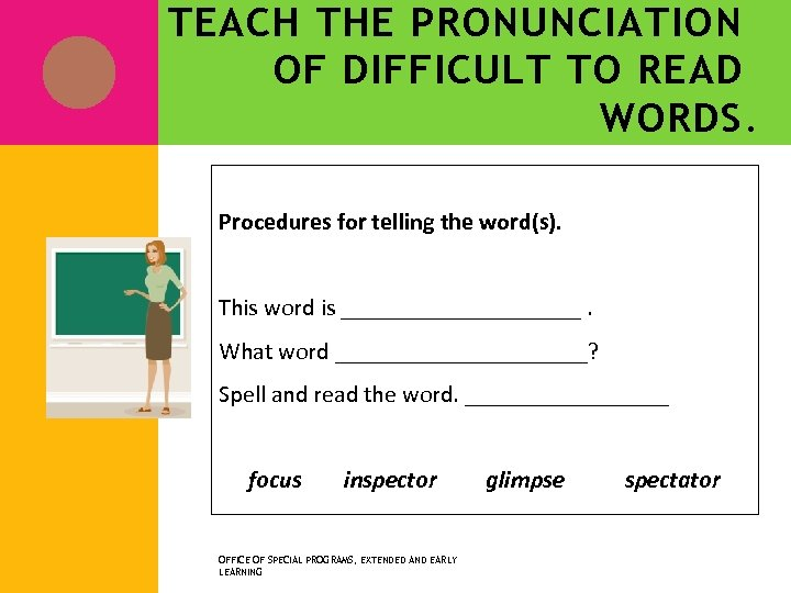 TEACH THE PRONUNCIATION OF DIFFICULT TO READ WORDS. Procedures for telling the word(s). This