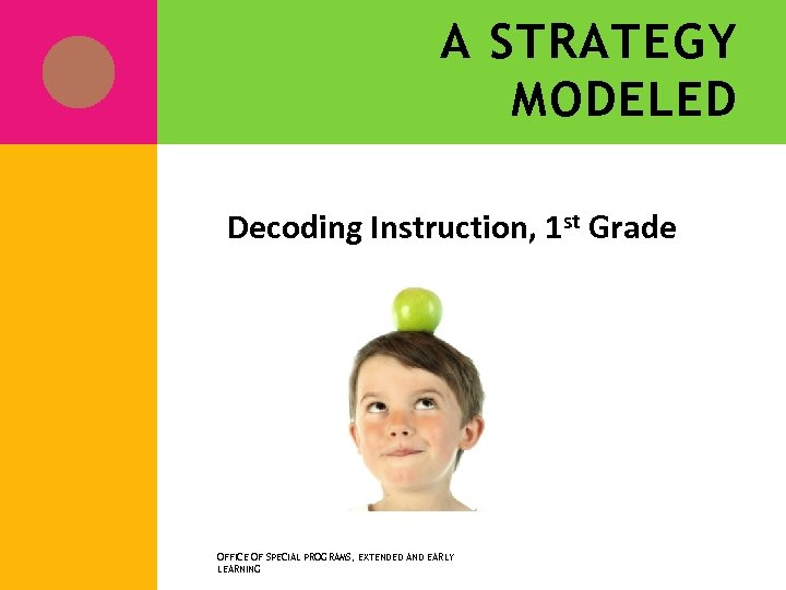 A STRATEGY MODELED Decoding Instruction, 1 st Grade OFFICE OF SPECIAL PROGRAMS, EXTENDED AND