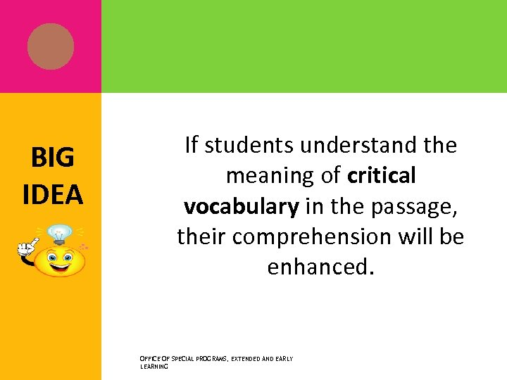 BIG IDEA If students understand the meaning of critical vocabulary in the passage, their