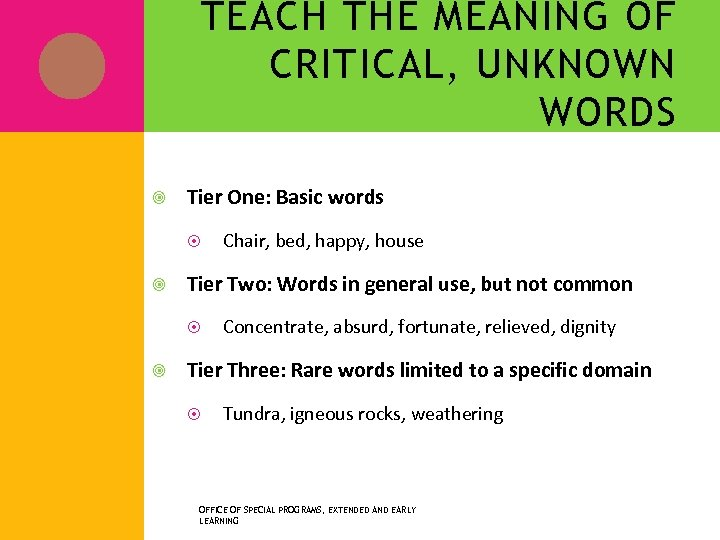 TEACH THE MEANING OF CRITICAL, UNKNOWN WORDS Tier One: Basic words Tier Two: Words