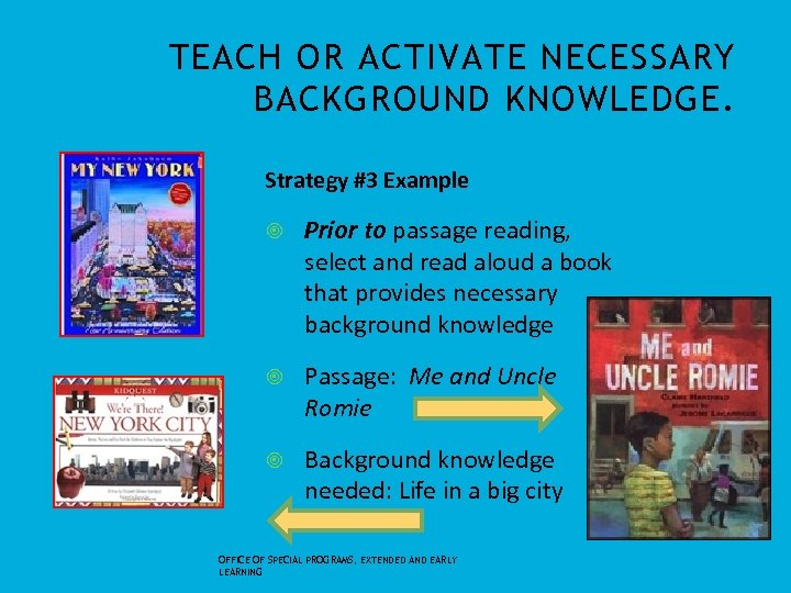 TEACH OR ACTIVATE NECESSARY BACKGROUND KNOWLEDGE. Strategy #3 Example Prior to passage reading, select