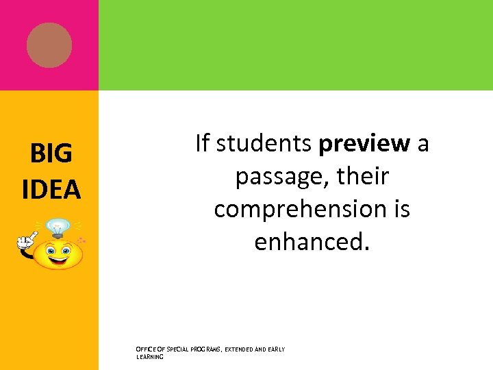 BIG IDEA If students preview a passage, their comprehension is enhanced. OFFICE OF SPECIAL